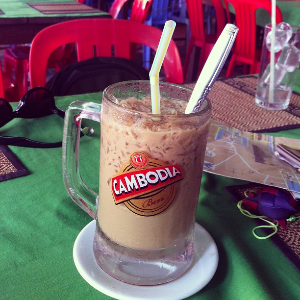 Ice cold Cambodian coffee with sweet milk ahhhhh