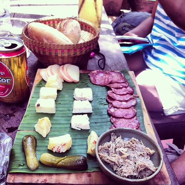 Cambodian Cold Cuts and a basket of fresh baguettes for lunch.