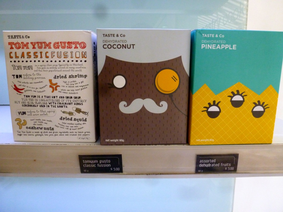 Very cute packaging for dried fruits and Tom Yum mix