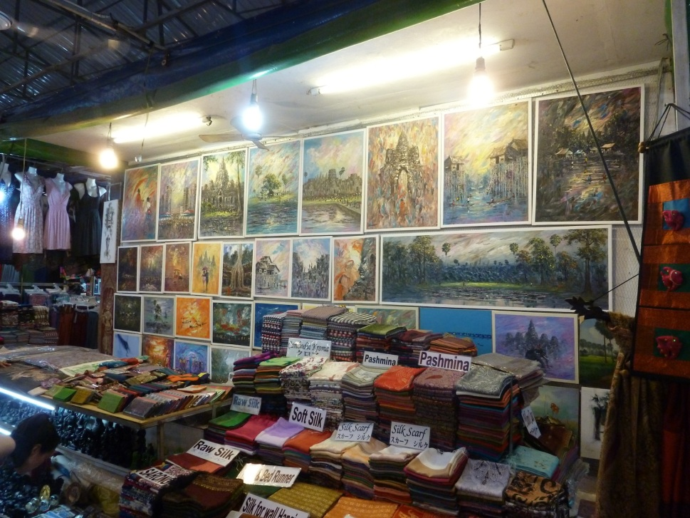 Paintings, silk scarves and whatnot at the Night Market