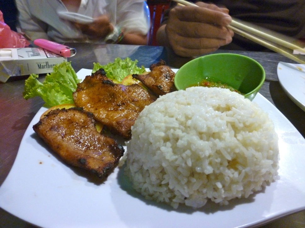 Fried garlic pork and rice